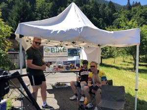 Cyclists having a break