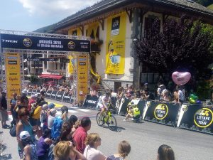 Cyclist in bike race at finish line