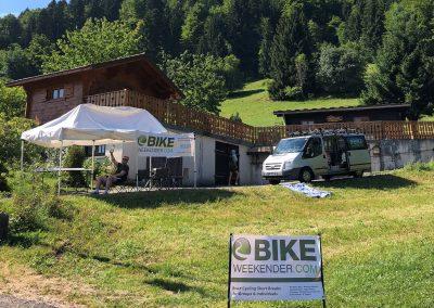 Bike Weekender refreshment tent and minibus