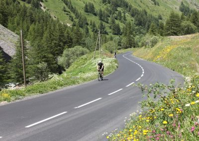 Cyclists riding on a mountain road