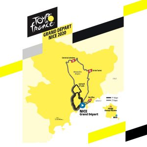 Tour de France 2020 map of the Grand Depart in Nice